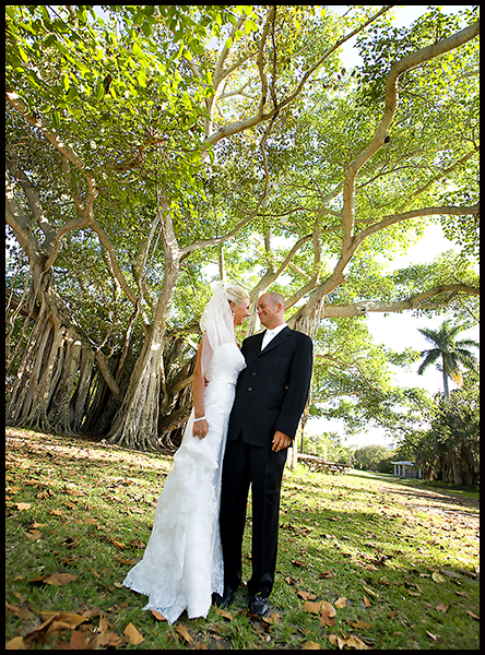 Bride and groom in park Fort Lauderdale South Florida
